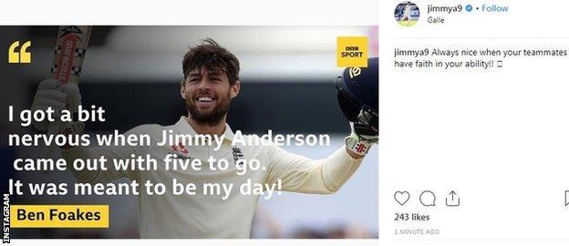 James Anderson Instagram post