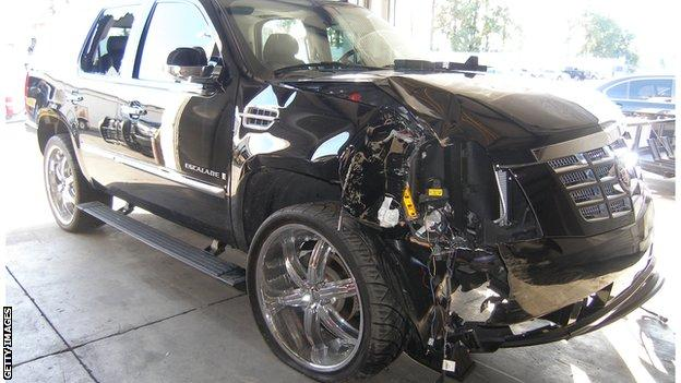 Tiger Woods' smashed car after the 2009 crash outside his home
