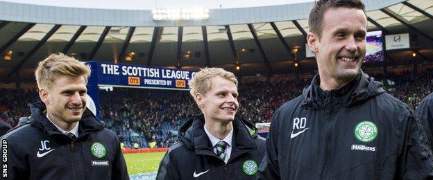 "Mackay-Steven (centre) felt ""awkward"" during Celtic League Cup celebrations last season"