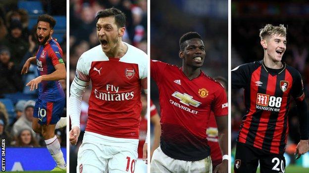 Andros Townsend (Crystal Palace), Mesut Ozil (Arsenal), Paul Pogba (Man Utd), David Brooks (Bournemouth)