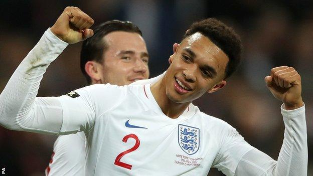 England defender Trent Alexander-Arnold celebrates his goal