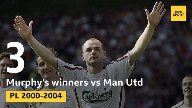 Murphy scored the winner for Liverpool against United on three occasions between 2000 and 2004, all in 1-0 wins