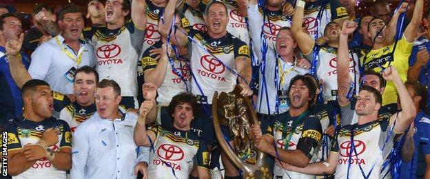 North Queensland Cowboys celebrate winning the 2015 NRL Grand Final