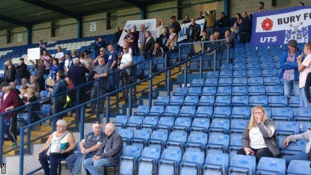 Bury fans protests inside Gigg Lane at the weekend, when the club should have been hosting Gillingham in League One