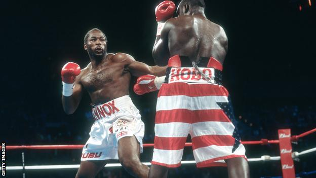 Lennox Lewis fighting Hasim Rahman for the WBC, IBO, IBF and Lineal heavyweight titles on November 17, 2001 at the Mandalay Bay Events Center in Las Vegas, Nevada. Lewis won the fight with a 5th round KO.
