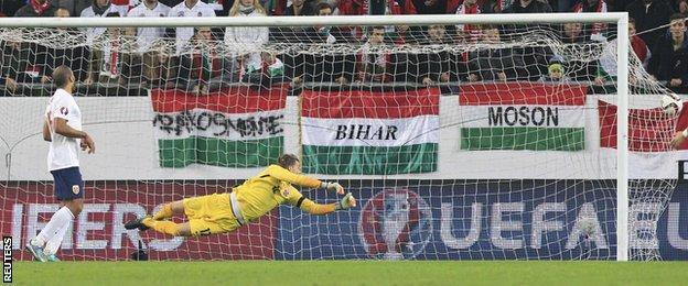 Norway goalkeeper Orjan Hyland is beaten