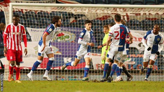 John Buckley's (centre) equaliser for Blackburn Rovers was the 21-year-old's first goal of the season