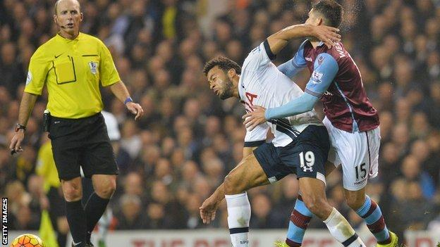 Aston Villa's Ashley Westwood is caught in the face by Tottenham's Mousa Dembele