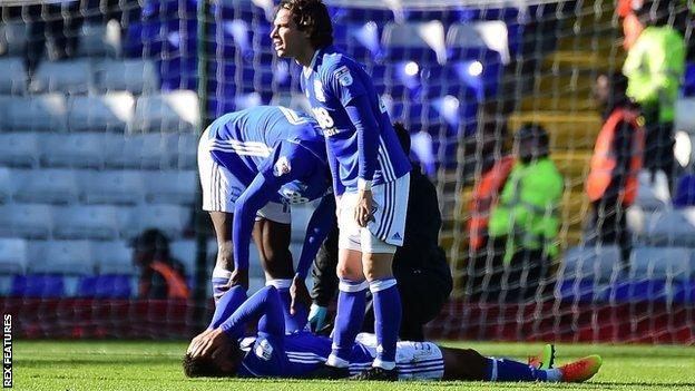 Making only his third league start for Birmingham City on Sunday, Isaac Vassell was injured following a collision with Villa's Alan Hutton
