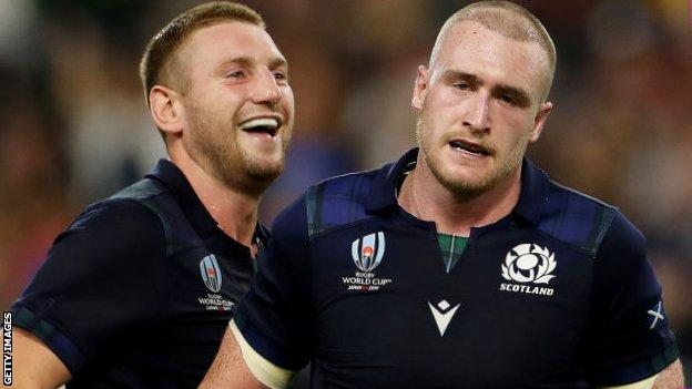 Finn Russell and Stuart Hogg