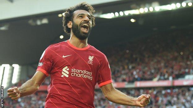 Salah celebrates