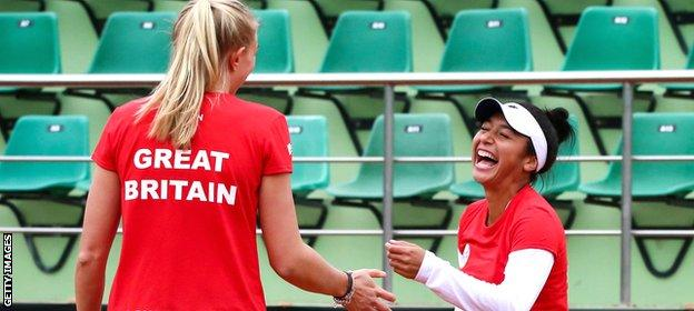 GB's Jocelyn Rae and Heather Watson take part in a training session