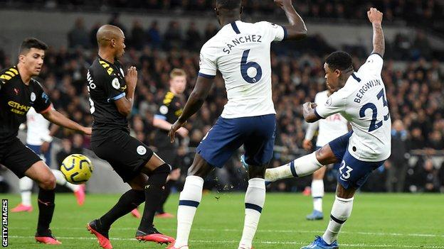 Tottenham Hotspur Manchester City Steven Bergwijn Scores Superb Debut Volley As Spurs Win Bad tempered Affair BBC Sport