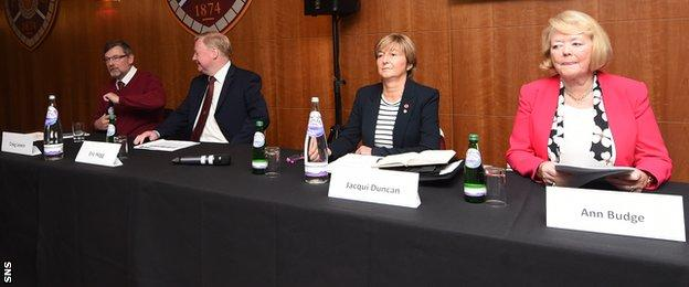 The Hearts board address shareholders at the club's AGM