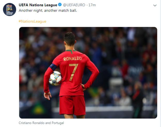 Uefa tweet about Ronaldo