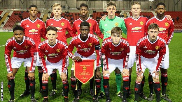 Marcus Rashford and the U18 Manchester United team