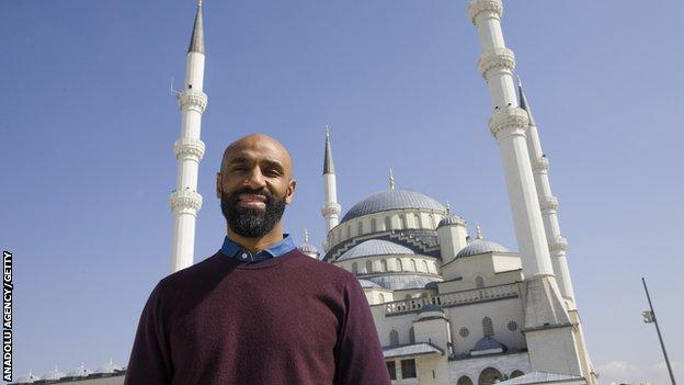 Fredi Kanoute, pictured outside a mosque in Ankara, Turkey