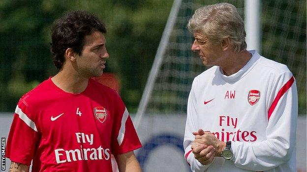 Cesc Fabregas and Arsene Wenger while at Arsenal
