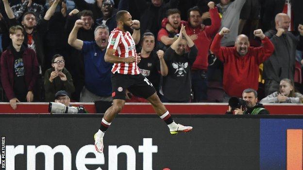 Bryan Mbeumo celebrates scoring for Brentford