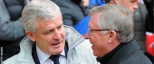 Mark Hughes and Sir Alex Ferguson at QPR