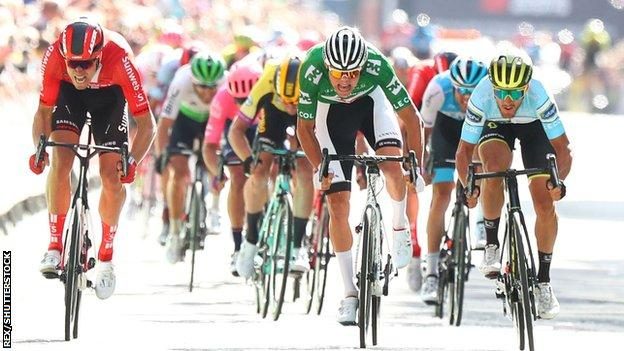 Mathieu van der Poel crossing the line on the final stage of the Tour of Britain