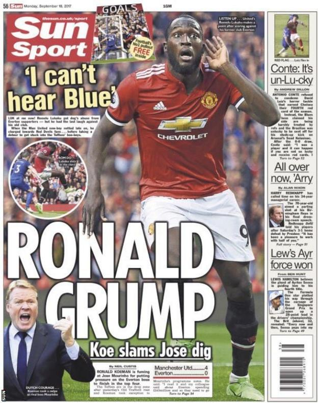 The Sun also feature Lukaku's gesture to the Old Trafford crowd