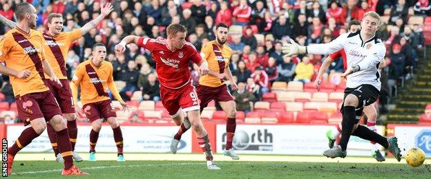 Adam Rooney heads Aberdeen in front late in the first half