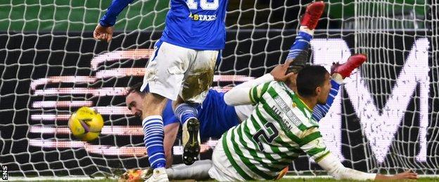 Chris Kane scores for St Johnstone against Celtic