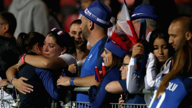 France players comforted