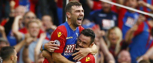 James McArthur (left) celebrates for Crystal Palace