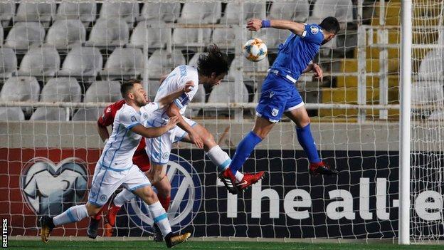 Cyprus' Konstantinos Laifis scores against San Marino