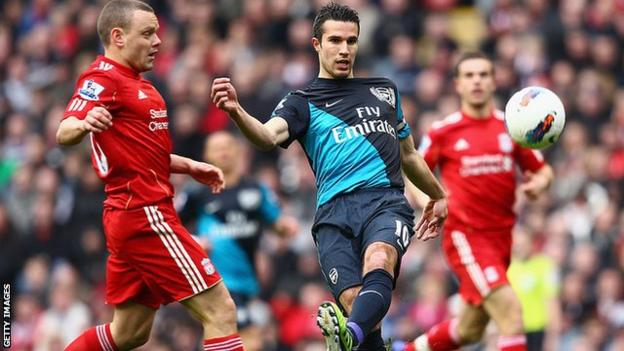Robin van Persie scoring a volley at Anfield in 2012
