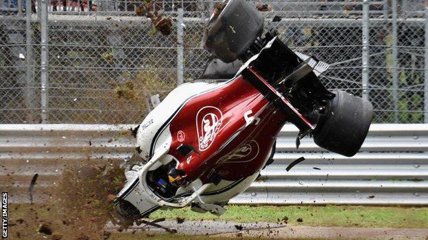 Marcus Ericsson's Sauber has huge crash in Italian GP second practice