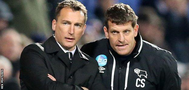 Derby head coach Darren Wassall (left) and coach Craig Short