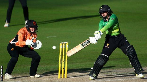 Fran Wilson batting in the Kia Super League