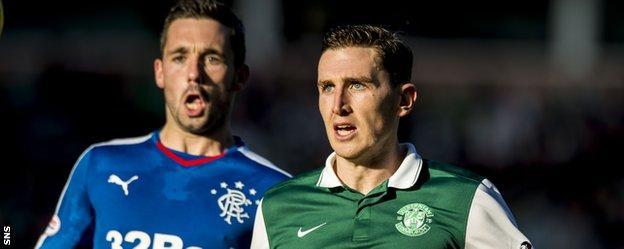 Rangers' Nicky Clark and Hibs' Paul Hanlon