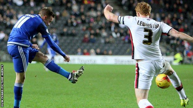 Craig Noone scores in Cardiff's 2-1 defeat at MK Dons
