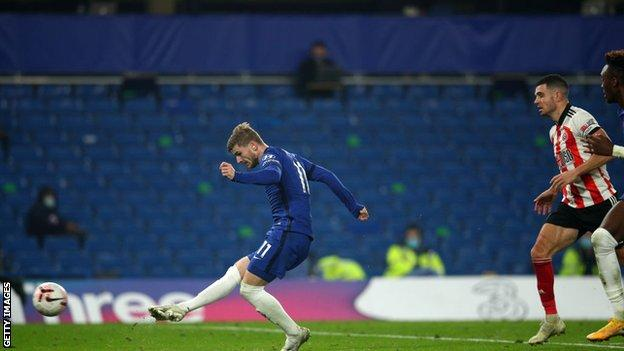 Timo Werner last found the net in the Premier League for Chelsea against Sheffield United on 7 November