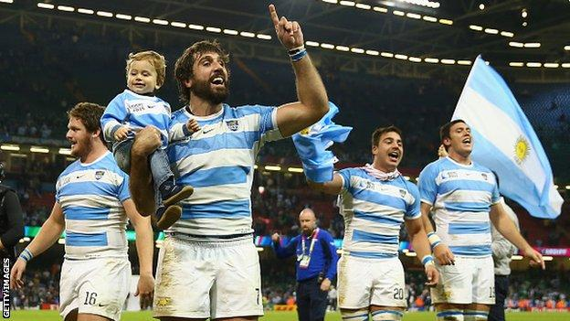 Argentina players celebrate victory over Ireland in the 2015 Rugby World Cup quarter-final
