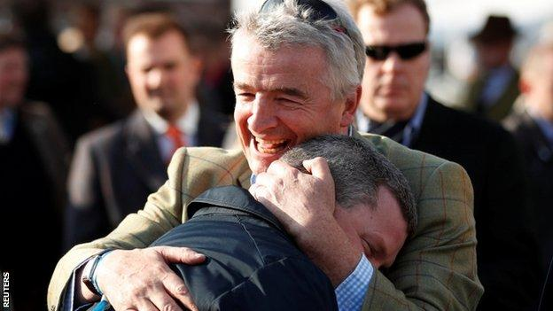 Owner Michael O'Leary embraces trainer Gordon Elliott