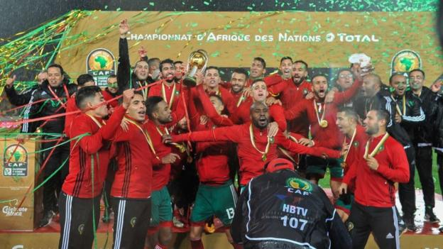 Morocco celebrate winning the 2018 African Nations Championship (CHAN)