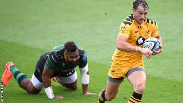 Wasps winger Josh Bassett scored the first and last tries of the game at Franklin's Gardens to take his Premiership tally to two in three matches - five months apart