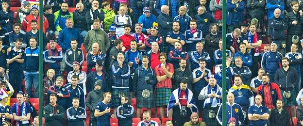 Scotland fans show their dejection in Slovakia