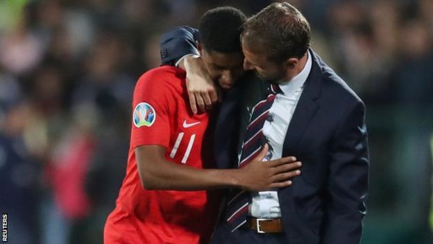 Gareth Southgate consoling Marcus Rashford