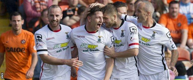 Josh Meekings (centre) is congratulated by his team mates after grabbing the equaliser for Inverness CT