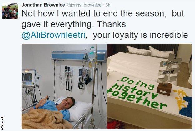 Jonny tweets from hospital