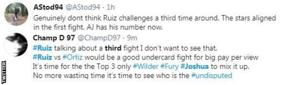 Twitter reaction - Ruiz v Joshua II