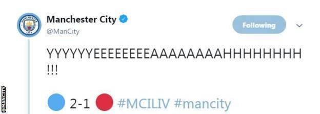 """""""Yyyyyeeeeeaaaahhhhh""""! tweet Manchester City after Leroy Sane puts them ahead."""