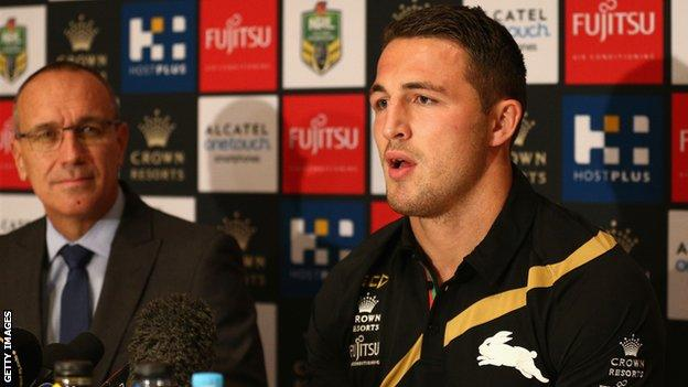 Sam Burgess is unveiled on his return to the South Sydney Rabbitohs