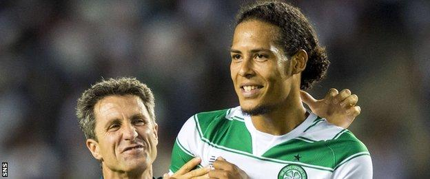 The key to Virgil Van Dijk (right) staying at Celtic could lie in the club making the group stage